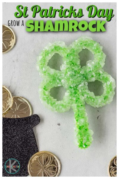 Get ready to WOW your kids by sneaking in an EASY St Patricks Day Science with this fun Grow a Shamrock project! Kids will have fun watching a three leaf clover grow borax crystals overnight with this engaging St Patricks Day Activity for kids of all ages! Try this super simple activity with preschool, pre-k, first grade, 2nd grade, 3rd grade, and kindergarten st patrick's day.