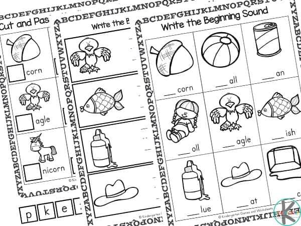 beginning sound pictures for kindergarten