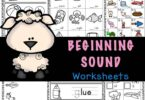 These free, no-prep Beginning Sound Worksheets are a great way for pre-k, kindergarten, and first grade students to practice and improve their reading and writing skills.  There are a variety of beginning sounds worksheets for kindergarten in this initial sound worksheets pack including using bingo daubers, draw a line matching, cut and paste worksheets, trace the beginning sound, and write the initial sound . Simply download pdf file with beginning sounds worksheets for kindergarten pdf and you are ready to play and learn!