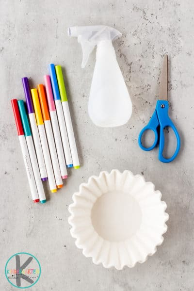washable markers coffee filters spray bottle with water tray or surface that can get wet scissors tape to hand the Easter eggs up window paint(optional)