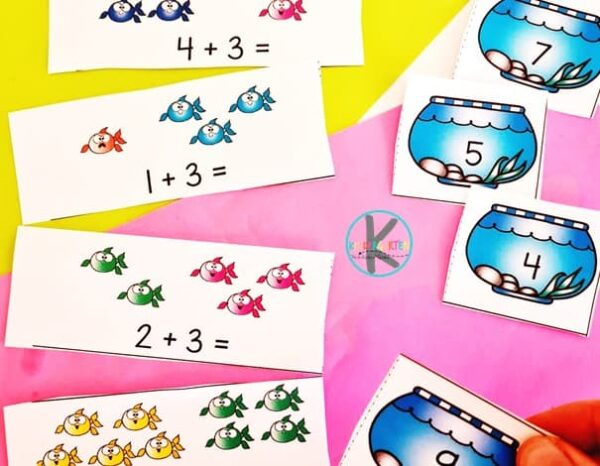 fish simple addition for kindergarten