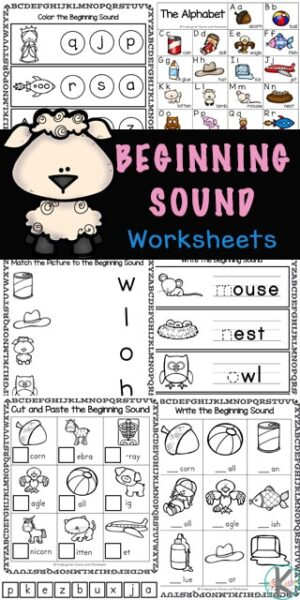These free, no-prep Beginning Sound Worksheets are a great way for pre-k, kindergarten, and first grade students to practice and improve their reading and writing skills. There are a variety of beginning sounds worksheets for kindergarten in this initial sound worksheets pack including using bingo daubers, draw a line matching, cut and paste worksheets, trace the beginning sound, and write the initial sound . Simply download pdf file with beginning sounds worksheets for kindergarten pdfand you are ready to play and learn!
