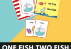 This super cute one fish two fish activity is a great way to celebrate Dr Seuss Day on March 2nd while working on rhyming for kids. This fun rhyming games for kindergarten is a great way to help early learners improve reading skills and fluency with a cute dr seuss printable! Simply download pdf file with one fish two fish printables and you are ready to play and learn!