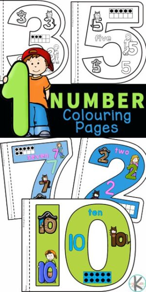 Children are going to love these unique, Number Coloring Pages. There is a numbers 1-10 worksheets for each number for toddlers, preschool, pre-k, and kindergarten children to not only colour, but work onkindergarten number sense. Children will learn how numerals can be represented as number words, dots on a ten frame, and more! Simply download pdf file with number worksheets 1-10 and cut out for a really cool number book where the pages have the number shape! Thesenumber sense worksheets are a great way to introduce numbers 1 to 10!