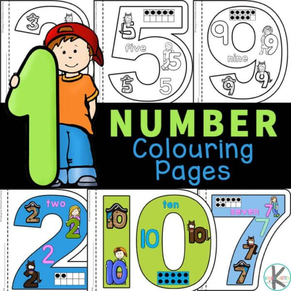 Unique Number Coloring Pages where there is a numbers 1-10 worksheets for each number. Number sense worksheets are a great way to introduce numbers 1 to 10!
