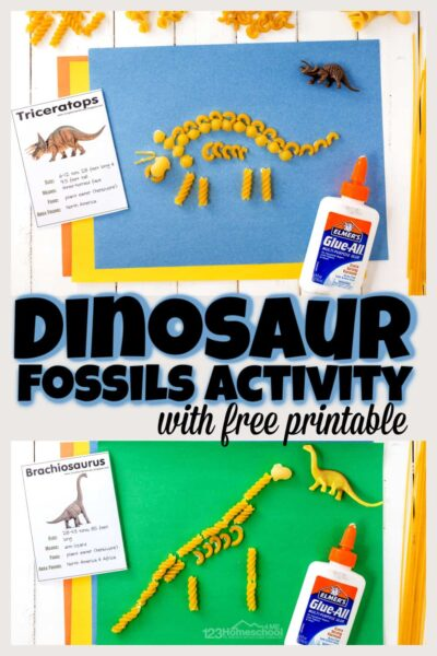 Make prehistoric dinosaurs come alive with this dinosaur fossils for kids activity! Toddler, preschool, pre-k, kindergarten, first grade and 2nd graders will have fun making fossils out of pasta using these freedinosaur fossil printables. Simply print pdf file withdinosaur printablesand you are ready to play and learn about dinosaurs with thisfossils for kids project.