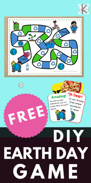 Our FREE Earth Day game will help your preschool, pre-k, kindergarten, and first grader will develop environmental awareness. This easy prepearth day activity can be made from recycled materials. Help your class have fun and learn about recycling, reusing, saving energy, and water. Simply download pdf file withrecycling game and you are ready to play and learn with thisrecycling activities for kindergarten.
