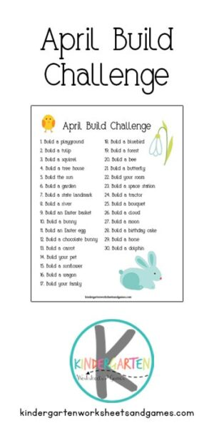 Spring is here and that means little ones will be antsy to play. One great way to encourage creativity and provide an engaging activity is with the April Build Challenge. Kids love building blocks; this lego challenge calendar is the perfect spring activity for kindergartners to keep little hands and minds busy. Use this writing challege as anapril writing prompts to keep kids entertained in between subjects or as a warm up before the school day begins. Simply download pdf file april journal promptsand you are ready to build with thesespring writing prompts.