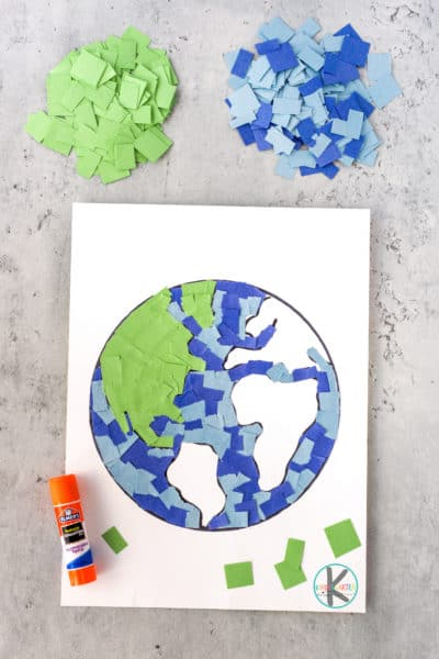 PrettyEarth Day Mosaic! craft for kids! This simple Earth Day craft for kindergarten uses a template and construction paper to make our lovely planet!