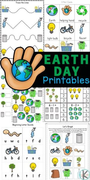Teach kids about conservation and protecting our planet on Earth Day for kids with these fun Earth Day Worksheets. These Earth day worksheets for kindergarten, preschool, pre-k, and first grade students are perfect for celebrating Earth Day on April 22nd. Students will love working on math and literacy skills with theseearth day worksheets for kids! Simply download pdf file withearth day worksheets for preschool and have fun playing and learning withearth day activities.