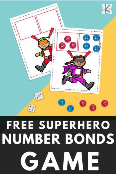 Work on number bonds to 12 with our FREE superhero game. This engaging, hands-on activity is perfect for Kindergarten. Use it in maths centers, group work, and for early finishers. Easy to prepare and a great way to learn number bonds.