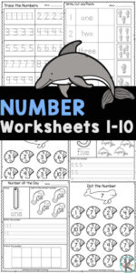 Young children will have fun learning to recognize numbers, count to to, and tracing numbers with these number worksheets 1-10. These number worksheets are great for working on kids' handwriting and fine motor skills. Use these1 to 10 worksheet pages with toddler, preschool, pre-k, and kindergarten age children. Simply print pdf file withnumber tracing worksheets pdf and you are ready to play and learn with super cute ocean worksheets for kindergartners!