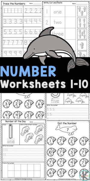 Young children will have fun learning to recognize numbers, count to to, and tracing numbers with these number worksheets 1-10. These number worksheets are great for working on kids' handwriting and fine motor skills. Use these1 to 10 worksheet pages with toddler, preschool, pre-k, and kindergarten age children. Simply download pdf file withnumber tracing worksheets pdf and you are ready to play and learn with super cute ocean worksheets for kindergartners!