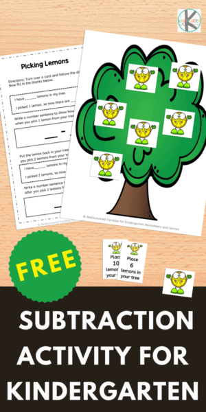 Our FREE lemon picking subtraction activity for Kindergarten will help your student practice subtracting 1 and 2. This subtraction games for kindergarten is a fun way to teach simple subtraction to kindergartners and grade 1 students. This subtraction printables is great for building math fluency. Simply download pdf file withsubtraction worksheets to make learning fun!