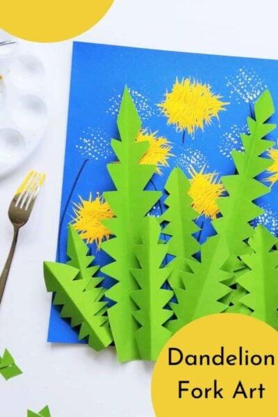 dandelion fork art project for kids