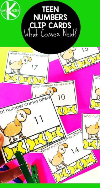 If you are working withteen numbers kindergarten, you will love this cute resource for helping children learnwhat number comes next. In this cute Dog and Boneteen number activity, kids will clip the bone for the number that comes after the featured number. These clip cards are such a fun, low prepmath activity for kindergartners. Simply download pdf file withwhat number comes next activity and you are ready to play and learn!
