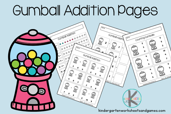 Gumball math is free printable math worksheets to practice counting and adding simple numbers togethers. Download kindergarten math worksheets pdf!
