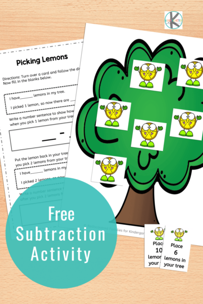 : Our FREE lemon picking subtraction activity for Kindergarten will help your students practice subtracting 1 and 2 and build math fluency. Click through to snag your free printable.