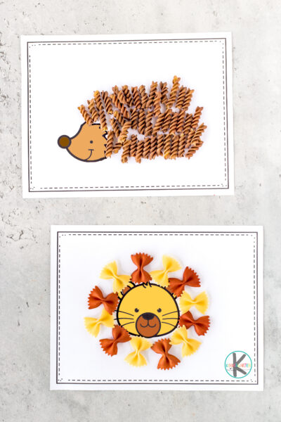 Super fun and clever animal craft for kids! Make these zooanimal crafts with colored pasta and freeanimal printables! Pasta crafts are fun for all!