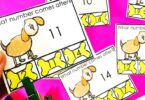 Learningteen numbers in kindergarten? You will love this FREE printable what number comes next clip card math activity to help the dog find his bone.