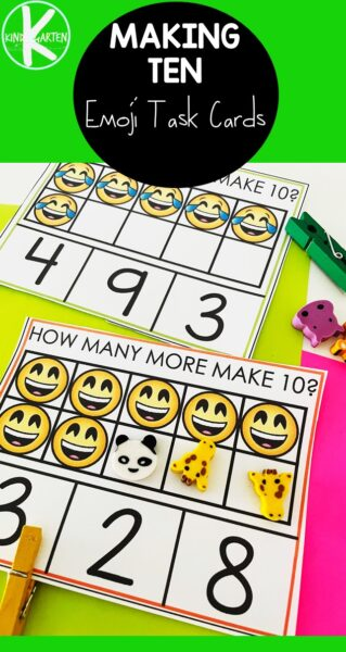 Help preschool, pre-k, and kindergarten age childn work on making 10 with ten frames using this super cute emoji printables! This hands-on practice working on addition within 10 is a clever ways to make 10 kindergarten. Simply download pdf file with making 10 games printable and you are ready for thismaking 10 activities.