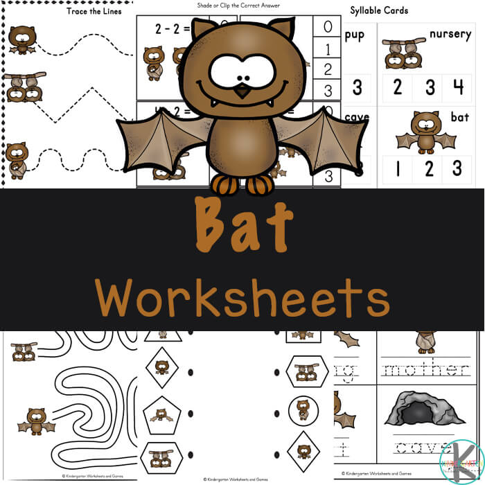 Learn about bat life cycles while practicing a variety of math and literacy skills with these free printable bat worksheets for preschool and kindergarten.