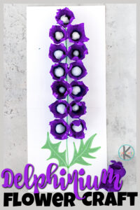 Beautiful delphinium craft makingeasy egg carton flowers! This flower craft for kids is a pretty and simplesummer craft for kids of all ages!