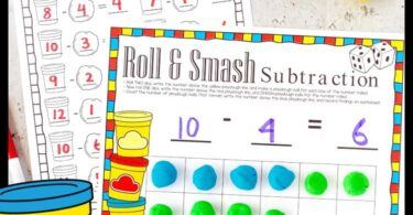 Get ready to maketeaching subtraction loads of FUN with thissubtraction activity for kindergarten. In thissubtraction game for kids children will roll the dice, add playdough balls to their ten frame, roll another dice, and smash the number of playdough balls indicated to get the difference. After preschool, pre-k, and kindergarten age children ahve done theplay dough activity, they will write the equations on thesubtration worksheets.Simply download pdf file withsubtraction smash and you are ready to play and learn with aplaydough activity for kindergarten.