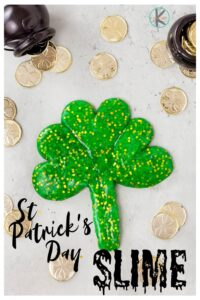 Are you looking for afun st patrick's day activities? ThisSt Patricks Day Slime is sure to delight kids of all ages from toddler, preschool, pre-k, kindergarten, and first grade students. This fun sensoryst patricks day activity is a great addition to yourSt Patricks Day Theme. Kids will love stretching and oozing the glittery green slime, forming the slime into shamrocks and lucky four leaf clovers. So whip up a batch of this easy slime recipe for March!