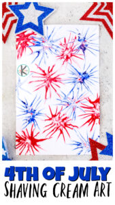 Are you looking for a quick, easy, and FUN4th of July Craft to celebrate this Independence Day? You are going to love thisshaving cream artproject! Make a super coolfirework craft using shaving cream and food coloring. Thisshaving cream craft is perfect for toddler, preschool, pre-k, kindergarten, first grade, and 2nd graders too. With the simple technique, you will not believe what beutifulcraft for Fourth of July you can make!