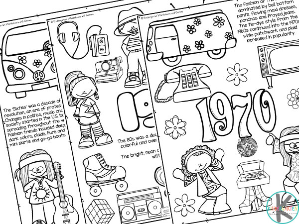 Free American Decades History Coloring Pages