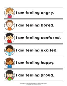 feeling strips for kids - angry, bored, confused, excited, happy, proud