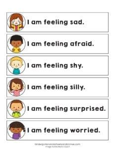 i am feeling sad, afraid, shy, silly, surprised, worried