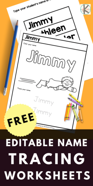 Need quick and easy name activities for kids is a great way for learning to write their names! Ourfree name tracing worksheets for preschool, pre-k, and kinderagrten age children are perfect for giving kids lots of name tracing practice. Just type your student's names in the table and watch the worksheets fill in like magic. You can create name tracing worksheets for 5 students at once. Simply print thefree editable name tracing sheets template and you are ready to practice!