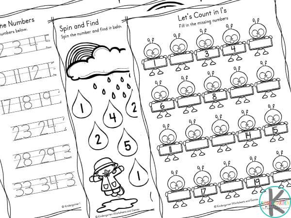 Spring Math Worksheets for Kindergarten