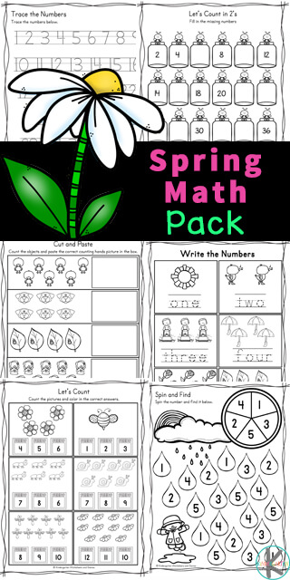 Have fun practicing math skills with these free printable, spring math worksheets. These spring math worksheet for kindergarten, pre-k, and first grade students are great for strengthening math skills for young children. Children will work on number recognition, tracing numbers, what comes next, skip counting, counting, number sense cut and paste, I spy printables, greater than less than, shapes, graphing, number words, and more in these kindergarten math worksheets pdf. Simply print the free kindergarten math worksheets and you are ready to play and learn!
