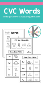 Are you working on learning cvc at words? These handyat family words worksheets are a great way to help kindergarten and first graders work on spelling and reading these words as they work on phonics skills. Simply print pdf file withat word family activity and you are ready to play and learn!