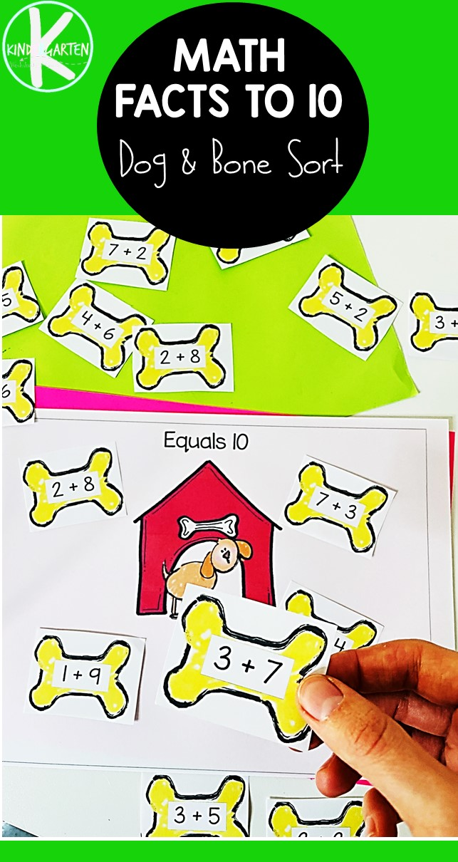 Make practicing adding numbers to 10 FUN with this free printable, addition activity for kindergarten! Children will work onaddition facts to 10 while helping the doggy get the correct bones. Thisaddition to 10 printable math game is a great way to reinforceaddition 1 to 10 while having fun! Simply print theadding up to 10 and you are ready to play this LOW PREP math activity for kindergartners!