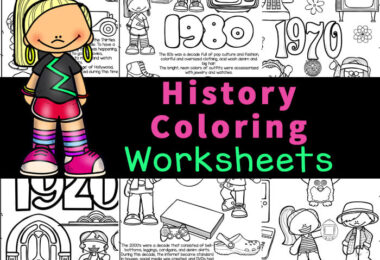Help kids learn about American history for kids with these super cute, free pritnable, history coloring pages. Each of the American history coloring pages features a decade of US history for kids to color, read and learn. This US history coloring pages set is perfect for toddler, preschool, pre-k, kindergarten, first grade, 2nd grade, and 3rd graders too. Using american history timeline printable allows kids to have fun working on their reading and fine motor skills while learning about the history of the decades from 1920 through 2000. Simply print theusa printable and you are ready to play and learn.