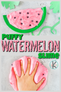 Kids will go nuts over the fun-to-squeeze puffy texture of thiswatermelon slime! This puffy slime recipe is such a funwatermelon activity for toddler, preschool, pre-k, kindergarten, and first graders to play with. Use thiswatermelon for kids idea along with yourwatermelon theme, The Watermelon Seed book, orwatermelon day activitieson August 3rd.