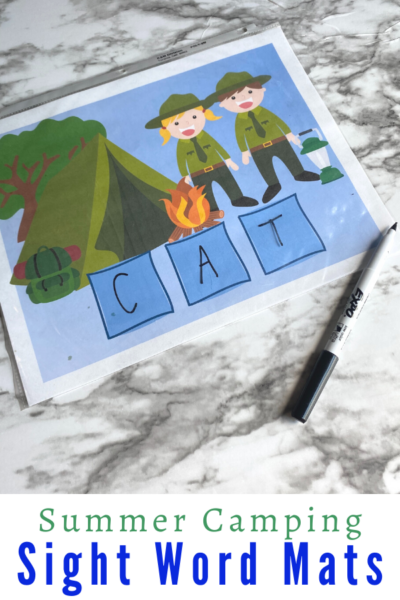Thiscamping activity for kids allows children to work on reading CVC Words with a camping printable perfect for a camping theme, summer theme, or summer learning! Sight Word Mats will help children practice all CVC words in a fun and interactive way.