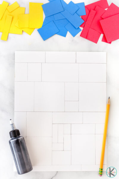 All you need to try this fun and unique art projects are a few simple materials you probably already have on hand: construction paper - white, red, blue, and yellow pencil ruler scissors black glue