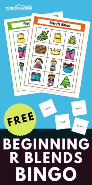 Our free Blends Bingo game is a fun way for your kids to practice 6 different R consonant blends! This consonant blend game is easy to prepare and fun to play. Simply print the free printable kindergarten phonics game and watch your kids play and learn. It is the perfect activity for kindergartener and first graders too.
