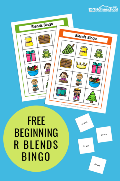 Our free Blends Bingo game is a fun way for your kids to practice 6 different R consonant blends! Easy to prepare and fun to play. Download the free printable and watch your kids play and learn. It is the perfect activity for kindergarten, and grade one. Click through to grab your copy.
