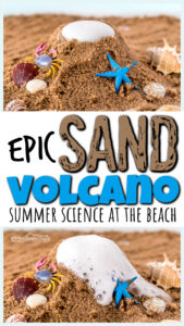 sand volcano summer science experiment and beach activity for kids