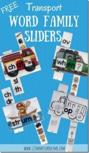 transportation blends activity for kindergarten sliders