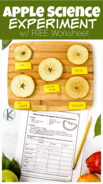 Simpleapple oxidation experiment to learnwhy apples turn brown andwhat prevents apples from browing with hands-on apple science activity for kids.