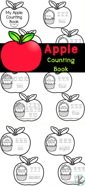 This fun, free printable apple counting book is great for young children to learn to recognize the numbers from one through ten as well as learning to write them. Simply print theseapple worksheets then color, trace numbers 1-10, cut out apples, and staple the apple printables into a cute apple mini-book. This low prepapple math allows toddler, preschool, pre-k, and kindergarten students to practice their number recognition, counting skills and handwriting skills as a funapple activities for kindergarten.