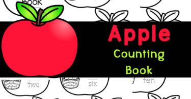 Printable apple counting book for preschool & kindergartners to count 1-10, trace numers, and work on number recognition with kindergarten apple activities.