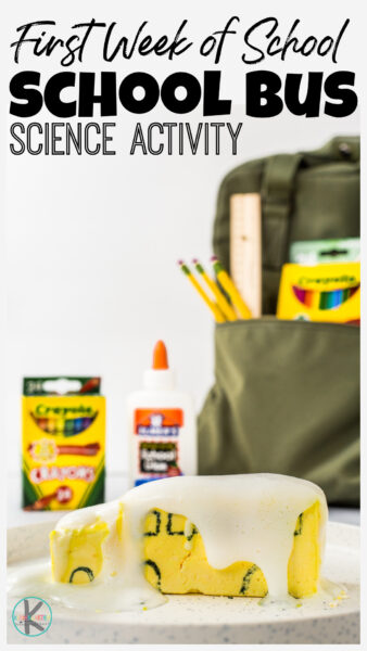 Outrageously FUN back to school activity! Try school bus, first day science experiment with baking soda and vinegar. EASY first week of school activities!
